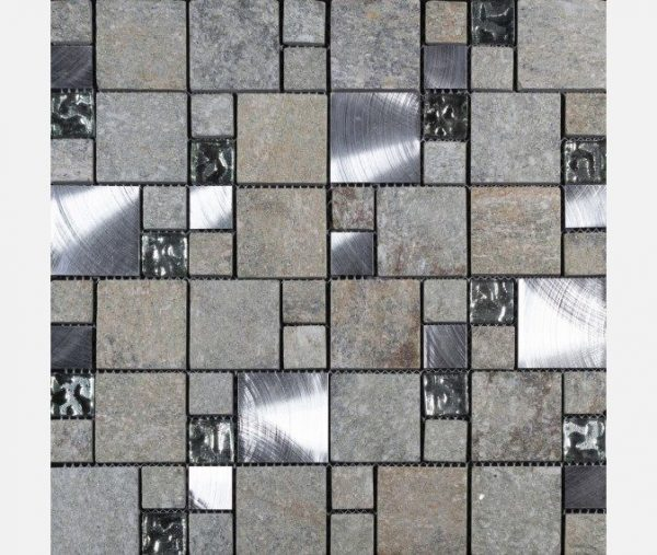 Comet Grey Square Stone Mosaic 300x300