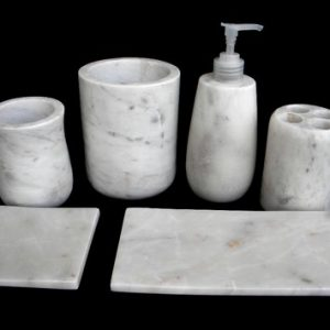 Swastik Overseas White Marble Bath Set Bathroom Accessories For Hotel