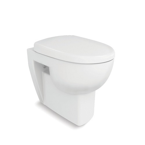 White Kohler Reach Wall Hung Toilet with Quiet-Close Seat and Cover